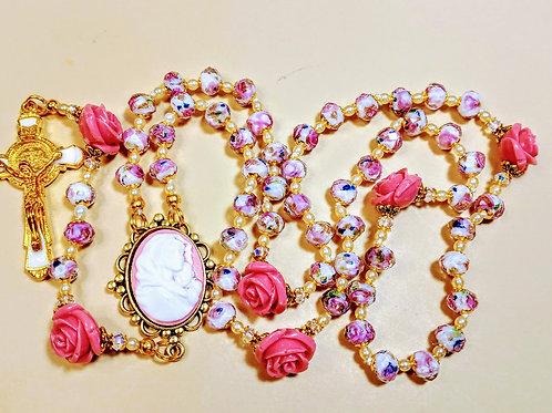 Beautiful Pink Roses Lampwork Bead Deep Pink Roses St. Benedict Pearl Rosary