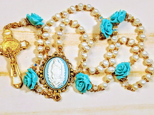 Beautiful Cream Pearl Aqua Blue Rose Guadeloupe St. Benedict Rosary Swarovski