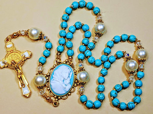 Beautiful Turquoise Bead Cream Pearl St. Benedict Mary Cameo Rosary Swarovski