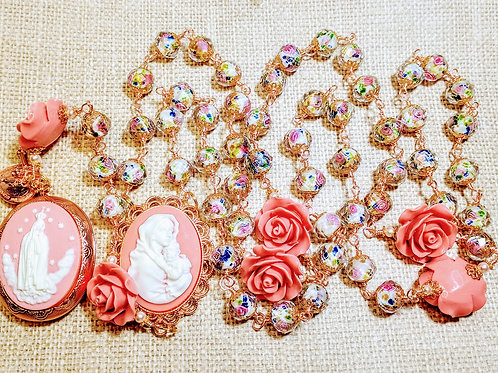 Vatican Style Antiqued Pink Rose Lampwork Pearl Mary Guadeloupe Cameo Rosary