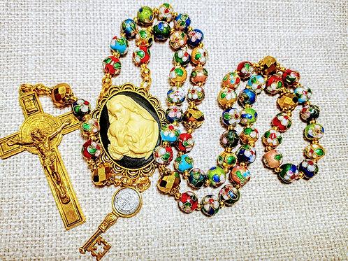 Beautiful Vatican Victorian Style Multi Cloisonné Benedict Cameo Rosary