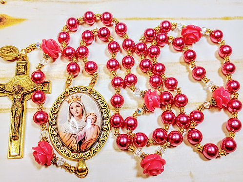 Vatican Style Rose Pink Pearl Queen Mary Child Jesus Cameo St. Rosary Swarovski