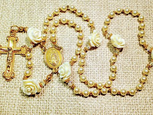 Beautiful Cream Pearl Roses Guadeloupe GF Crucifix Charm Rosary Swarovski Bead