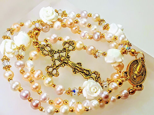 Victorian Design Multi Color Pink Freshwater Pearl White Roses Rosary Swarovski