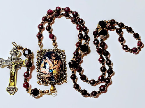 Beautiful Victorian Style Garnet Bead Black Crystal Holy Family Cameo Rosary