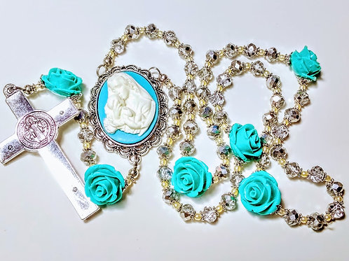 Beautiful Diamond White Silver Crystal Baby Blue Aqua Cameo Rose Benedict Rosary