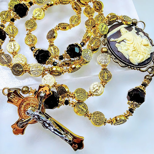 Gorgeous Antiqued Benedict Medal Gold Bead Black Crystal Cameo Catholic Rosary