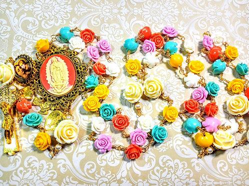 Vatican Style Multi Color Roses Cream Pearl Cameo Guadeloupe Rosary Swarovski