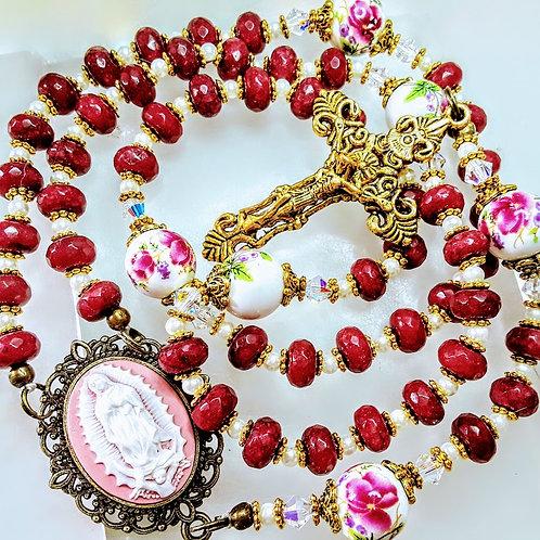 Beautiful Brazilian Ruby Bead Ceramic Roses Guadeloupe Cameo Rosary Swarovski