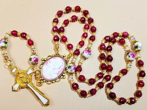 Beautiful Brazilian Ruby Rose Ceramic Bead Mary Cameo Benedict Rosary Swarovski