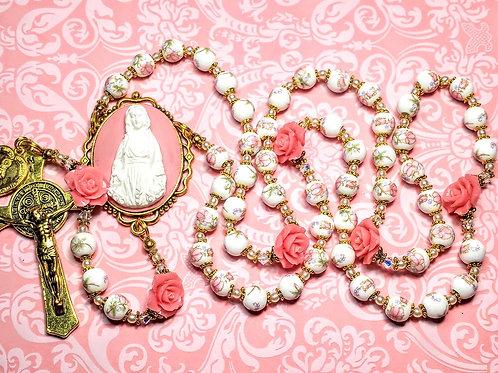 Beautiful Vatican Style Pink Flower Ceramic Bead Roses Benedict Rosary Swarovski