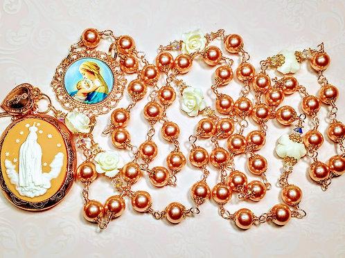 Beautiful Vatican Style Champagne Pink Pearl Fatima Cameo Locket Charm Rosary