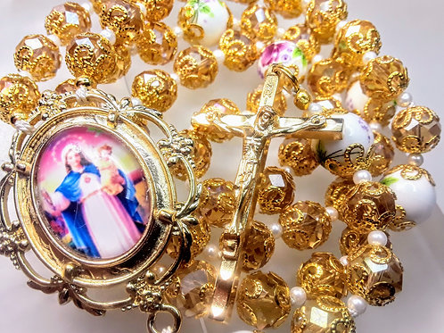 Victorian Style Champagne Gold Topaz Crystal Ceramic Roses Handmade Cameo Rosary