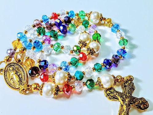Beautiful Multi Color Crystal Cream Pearl Miraculous Medal Centerpiece Rosary