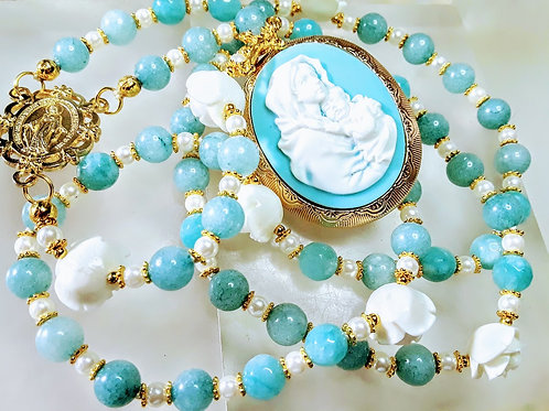 Vatican Style Aquamarine Blue Brazilian Topaz Bead Mary Locket Miraculous Rosary