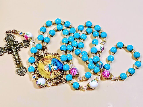 Beautiful Vatican Style Blue Turquoise Bead Mary Cameo Ceramic Roses Rosary Swar