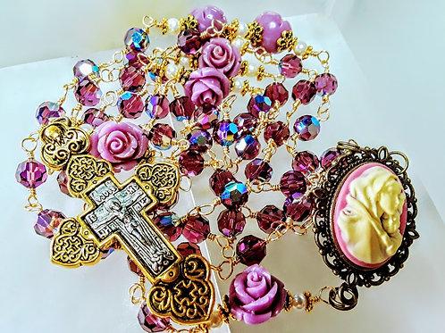 Beautiful Amethyst Crystal AB Amethyst Lavender Rose Cameo Rosary All Swarovski
