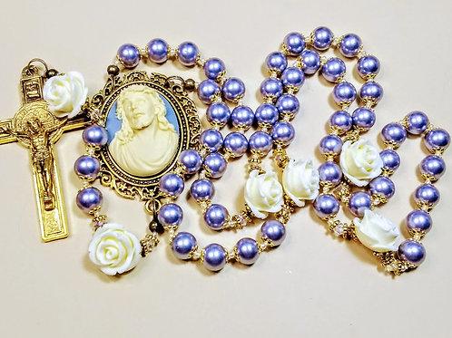 Beautiful Blue Lavender Pearl Cream Roses Jesus Cameo Benedict Rosary Swarovski
