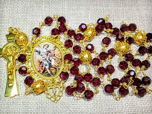 Beautiful Ruby Garnet Red Crystal St. Michael Angel Benedictine Rosary Swarovski