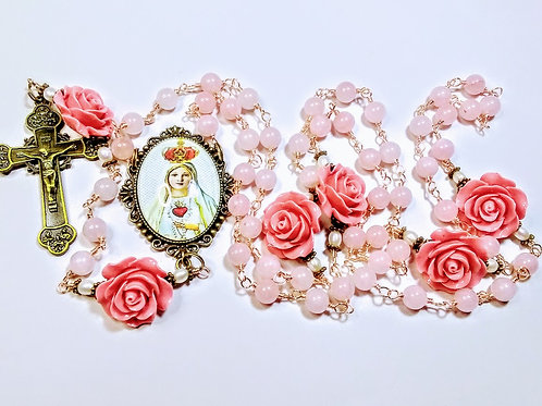 Beautiful Vatican Style Quartz Bead Pink Rose Immaculate Heart Mary Cameo Rosary