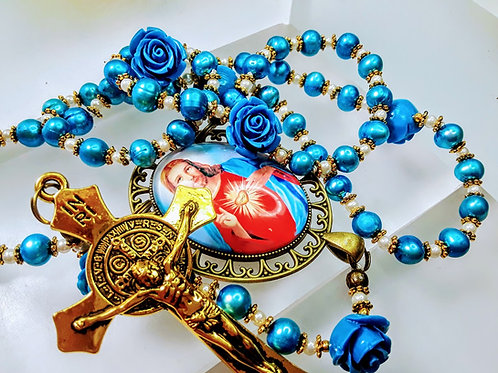 Beautiful Blue Freshwater Pearl Sacred Heart Cameo St Benedict Catholic Rosary