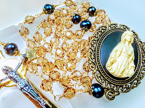 Vatican Style Champagne Crystal Black Freshwater Pearl Cameo Rosary Swarovski