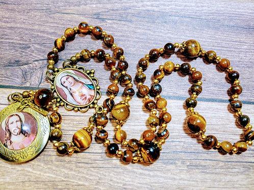 Beautiful Tiger Eye Bead Jesus Mary Cameo Benedict Rosary
