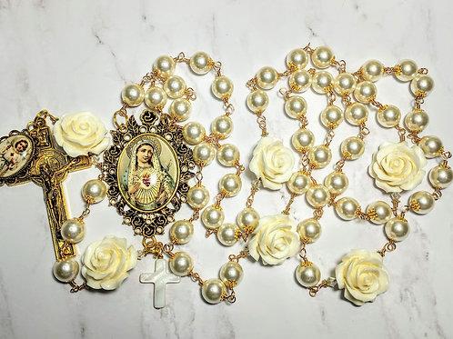 Vatican Style Cream Pearl Antiqued Rose Cameo Benedict Rosary Swarovski