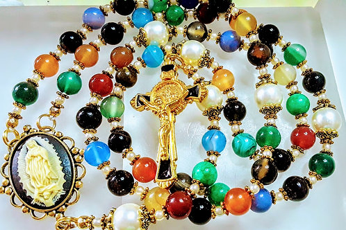 Vatican Style Guadeloupe Mary Cameo Multi Color Jade Bead Pearl Benedict Rosary