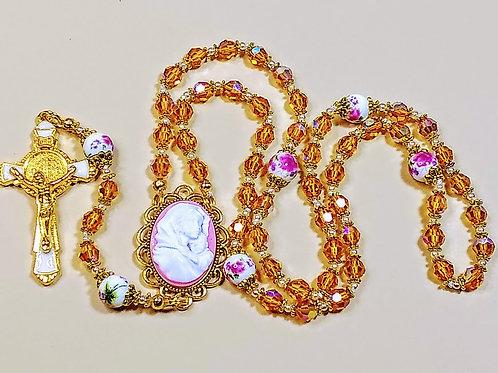Beautiful Champagne Swarovski Crystal Pink Mary Child Cameo Rose Ceramic Rosary