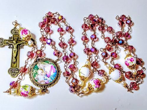 Beautiful Amethyst Crystal Bead Mary Cameo Ceramic Roses Freshwater Pearl Rosary