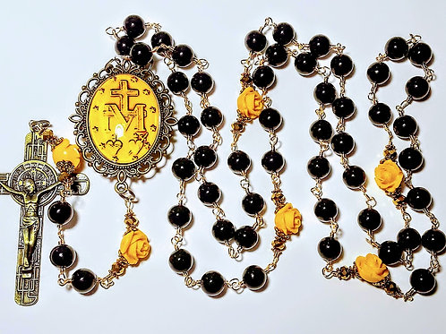 Vatican Style Black Onyx Yellow Rose Miraculous Medal Double Side Cameo Rosary