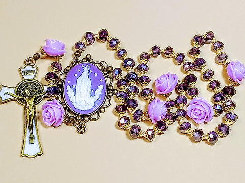 Beautiful Amethyst Violet Crystal Bead Mary Cameo Lavender Rose Benedict Rosary