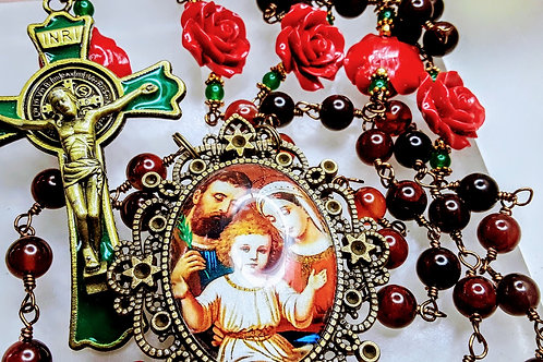 Beautiful Vatican Style Carnelian Bead Red Rose Holy Family Cameo Rosary