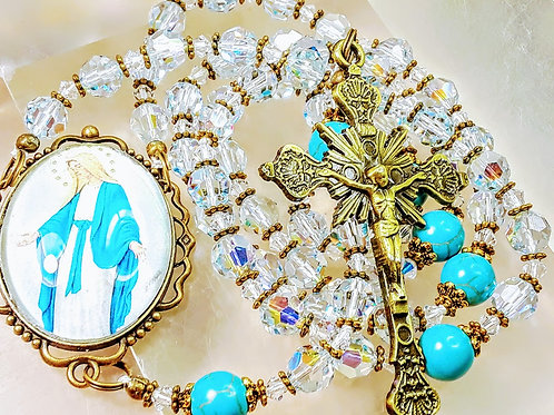 Beautiful Aqua Marine Blue Crystal Madonna Cameo Turquoise Made with SWAROVSKI