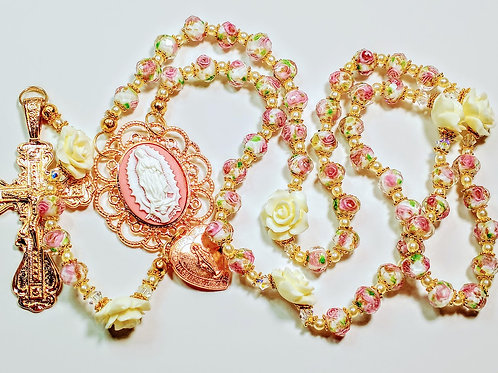 Beautiful Vatican Style Pink Lamp work Bead Fatima Rosary Swarovski