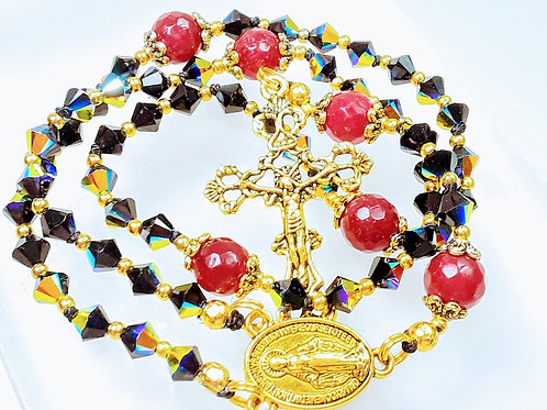 Beautiful AB Black Crystal & Ruby Miraculous Medal Catholic Rosary SWAROVSKI