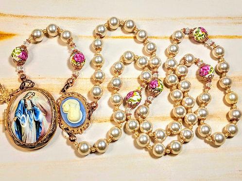 Vatican Style Cream Pearl Ceramic Rose Bead Mary Locket Cameo Rosary Swarovski