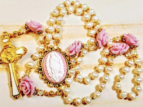 Cream Freshwater Pearl Lavender Rose Guadeloupe St. Benedict Rosary Swarovski