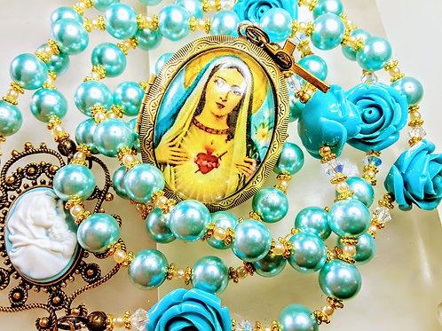 Vatican Style Sky Blue Roses & Pearl Bead Mary Cameo Locket Rosary Swarovski