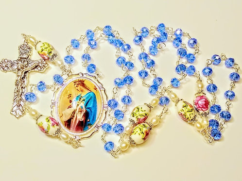 Beautiful Antiqued Baby Blue Crystal Bead Red Roses & Pearls Mary Cameo Rosary