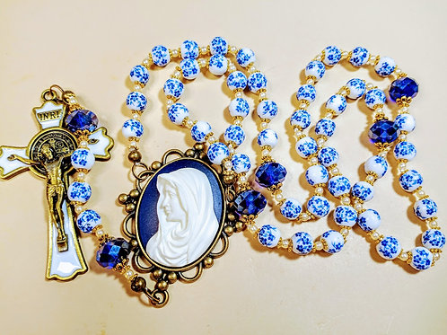 Beautiful Vatican Style Blue Flower Ceramic Bead Cream Cameo St. Benedict Rosary