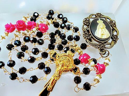 Beautiful black crystal Pink Roses St Benedict Rosary