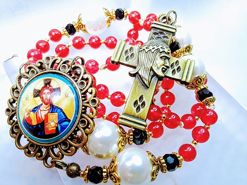 Beautiful Vintage Style Red Jade Bead White Pearl Jesus Cameo Catholic Rosary