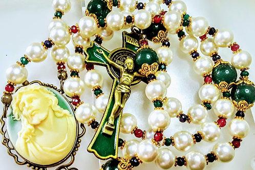 Beautiful Vatican Style Jesus Cameo White Pearl Multi Jade St. Benedict Rosary