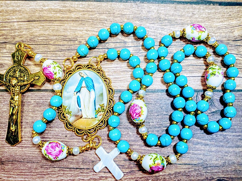 Beautiful Vatican Style Blue Turquoise Bead Mary Cameo Ceramic Roses Rosary