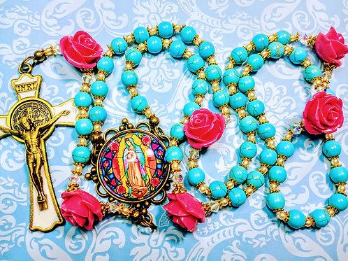 Beautiful Antiqued Style Turquoise Bead Pink Flower Benedict Rosary Swarovski