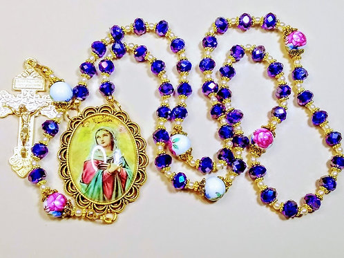 Vatican Style Ocean Blue Crystal Bead Queen Mary Caemo Ceramic Rose Rosary