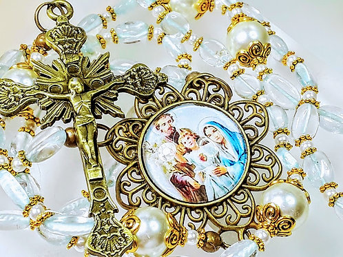 Beautiful Natural Aqua Marine Stone White Pearl Nativity Cameo Catholic Rosary
