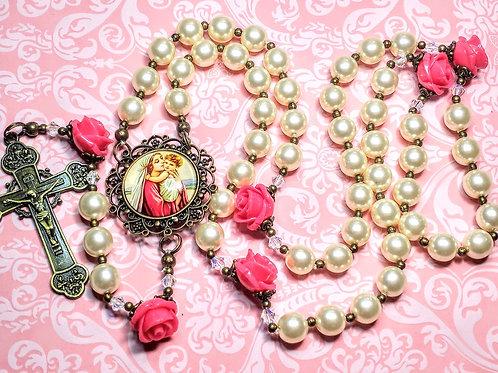 Beautiful Vintage Style Cream Pearl Pink Rose Mary Jesus Cameo Rosary Swarovski
